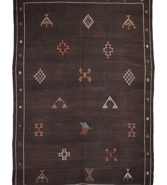 Cactus Sabra Silk Embroidered Rug – Dark Brown - 5 x 4 ft