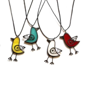 bird necklace pendant stained glass