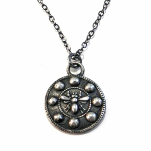 queen bee antique button silver necklace