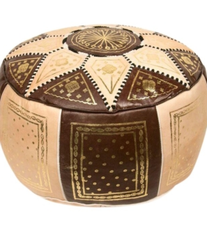 Moroccan Leather Pouf - Fes Design - Beige and Brown