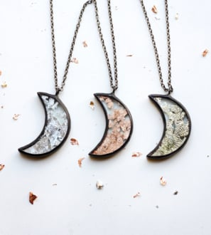 half moon necklace set of jewelry gold silver copper